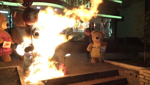 Aktivistka Femen zapálila medvídky u prodejny Roshen v Kyjevě. Video - Sputnik Česká republika