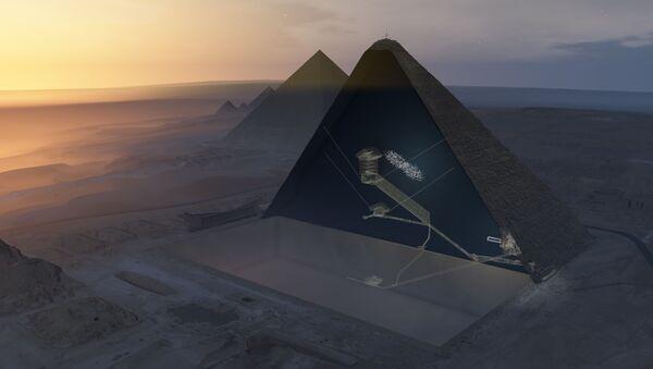 Průřez Cheopsovy pyramidy a předpokládané místo tajné komnaty - Sputnik Česká republika