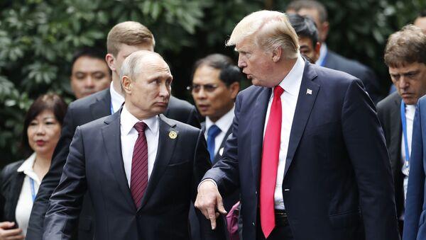 Ruský prezident Vladimir Putin a americký prezident Donald Trump během summitu APEC ve Vietnamu - Sputnik Česká republika