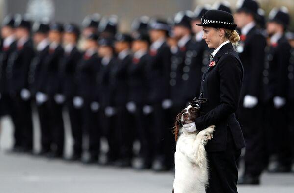Policejní důstojnice se svým psem na přehlídce policistů v Londýně - Sputnik Česká republika