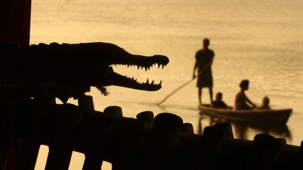 Muži loví ryby vedle krokodýla v Barra de Santiago. Salvador. - Sputnik Česká republika