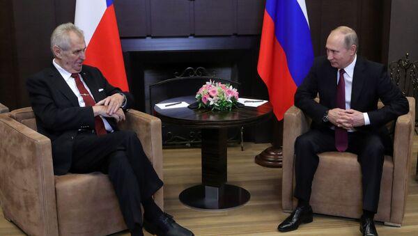 Prezident Miloš Zeman na schůzce s ruským prezidentem Vladimirem Putinem - Sputnik Česká republika