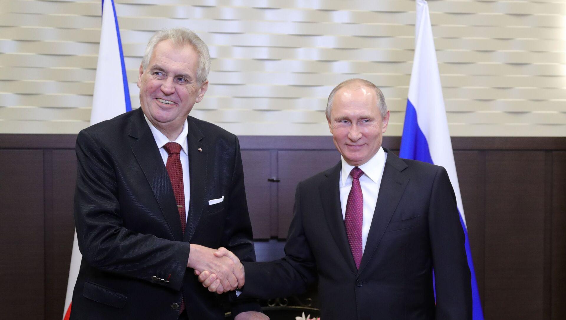 Schůzka ruského prezidenta Vladimira Putina s českým prezidentem Milošem Zemanem  - Sputnik Česká republika, 1920, 06.04.2021