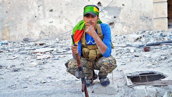 Bojovník z oddílů kurdských domobranců a Syrských demokratických sil - Sputnik Česká republika