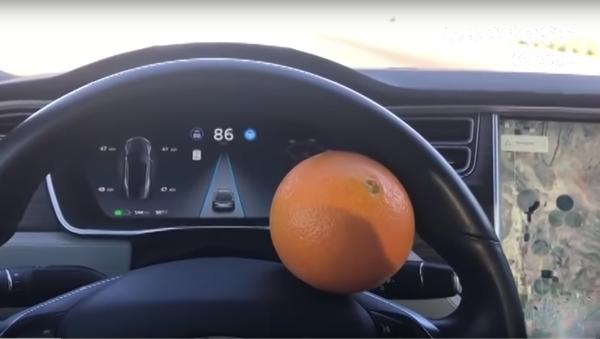 Muž s pomocí pomeranče oklamal autopilot Tesla - Sputnik Česká republika