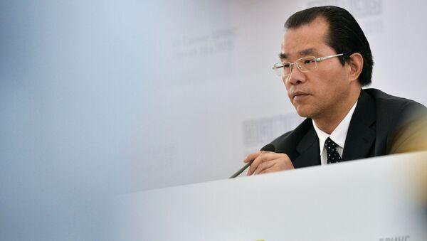 Ředitel departamentu Evropy a Centrální Asie čínského ministerstva zahraničních věcí Gui Qingyu na briefingu v Ufě - Sputnik Česká republika