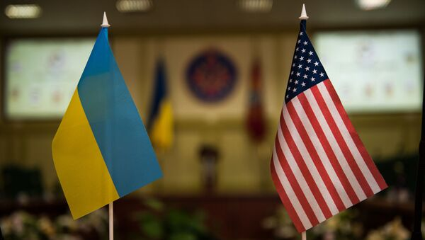 Vlajky Ukrajiny a USA - Sputnik Česká republika