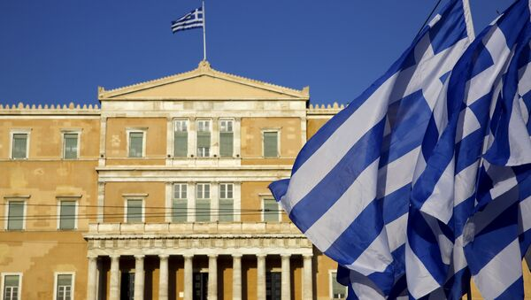 Řecké vlajky v Aténách - Sputnik Česká republika