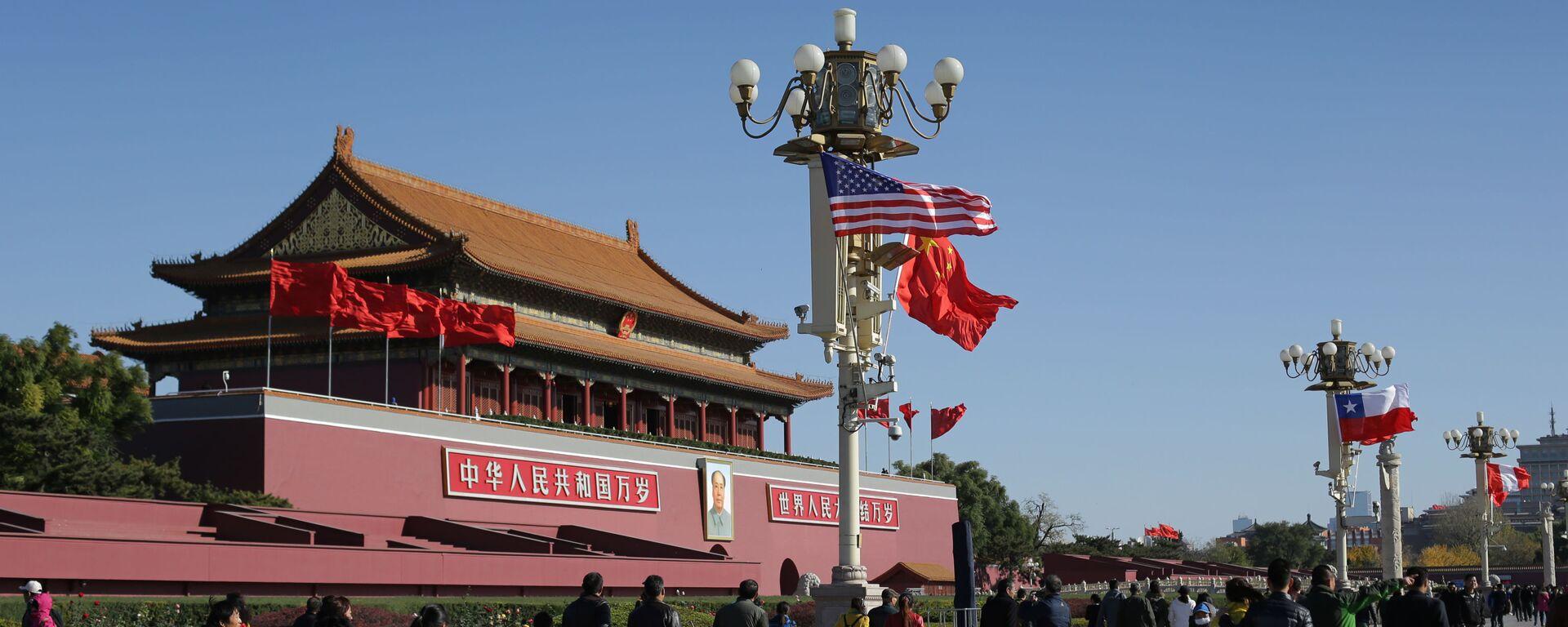 Vlajky USA a Číny v Pekingu - Sputnik Česká republika, 1920, 31.08.2021