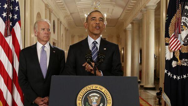 Americký prezident Barack Obama a viceprezident USA Joe Biden - Sputnik Česká republika