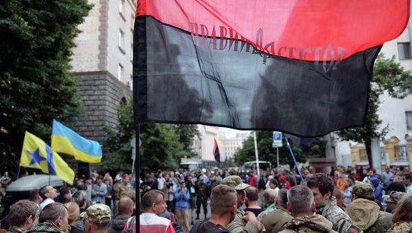Pravý sektor na demonstraci v Kyjevě - Sputnik Česká republika