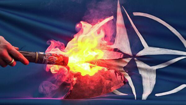 Pálení vlajky NATO demonstrantem - Sputnik Česká republika