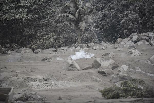 Vesnice San Miguel Los Lotes, pokrytá popelem po erupci sopky Fuego v Guatemale - Sputnik Česká republika