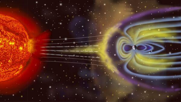 Schéma vzníku geomagnetické bouře na Zemi - Sputnik Česká republika