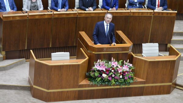 Bývalý slovenský prezident Andrej Kiska s projevem v parlamentu - Sputnik Česká republika