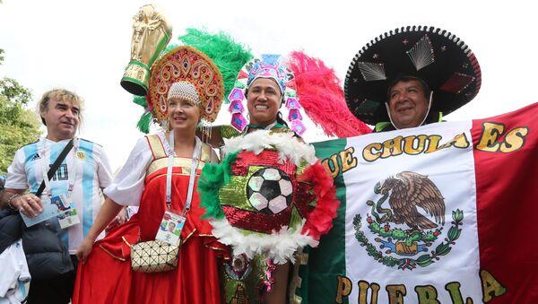 Fanoušci týmů Argentiny, Mexika a Ruska. Ilustrační foto - Sputnik Česká republika