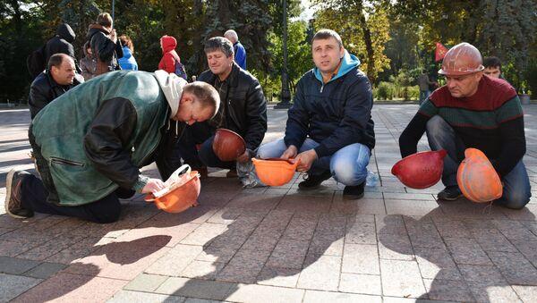 Protest ukrajinských horníků v Kyjevě. Ilustrační foto - Sputnik Česká republika
