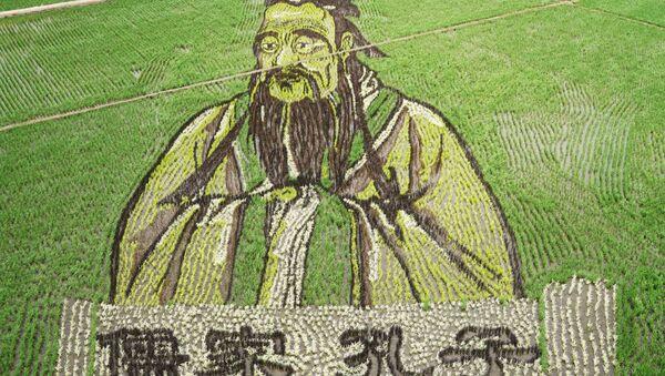 Portrét Konfuciuse na rýžovém poli v Číně - Sputnik Česká republika