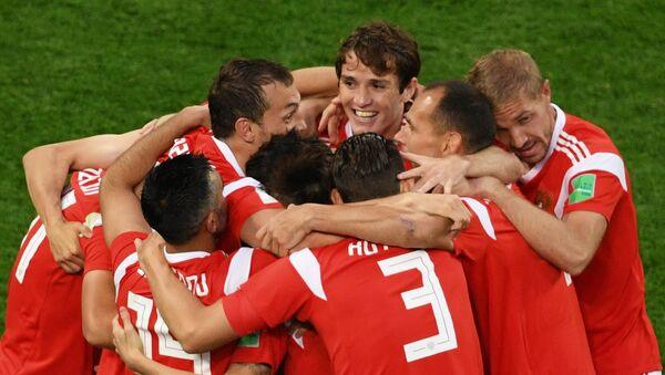 Hráči ruské fotbalové reprezentace během zápasu s Egyptem - Sputnik Česká republika