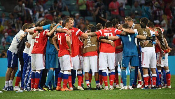 Ruský tým před prodloužením ve čtvrtfinále proti Chorvatsku - Sputnik Česká republika