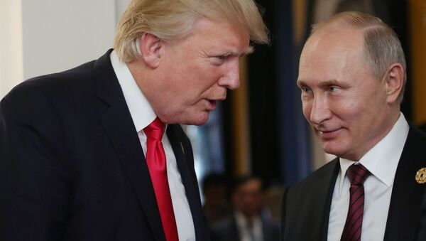 Prezidenti USA a Ruska Donald Trump a Vladimir Putin za okraj zasedání summitu APEC - Sputnik Česká republika