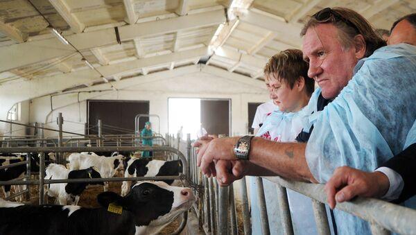 Herec Gerard Depardieu během návštěvy chovatelské farmy v Minsku. - Sputnik Česká republika