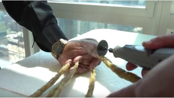 Indický muž si nechal ostříhat nejdelší nehty na světě a vystavil je v New Yorku - Sputnik Česká republika