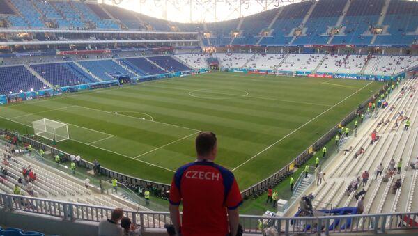 Český fanoušek na stadionu ve Volgogradu při MS 2018 - Sputnik Česká republika