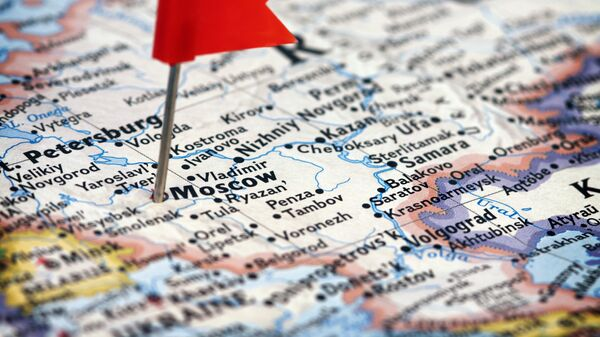 Mapa Ruska a vyznačená Moskva - Sputnik Česká republika