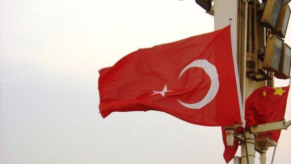 Turecká vlajka v Číně - Sputnik Česká republika