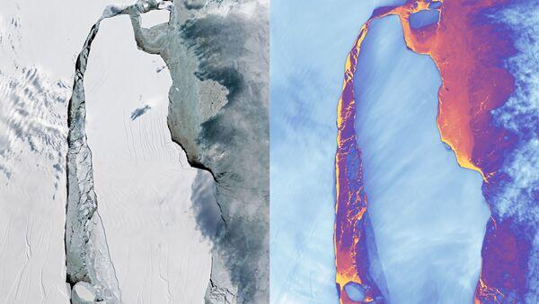 Gigantický ledovec A-68, který se odlomil od Larsena C v červenci 2017 - Sputnik Česká republika