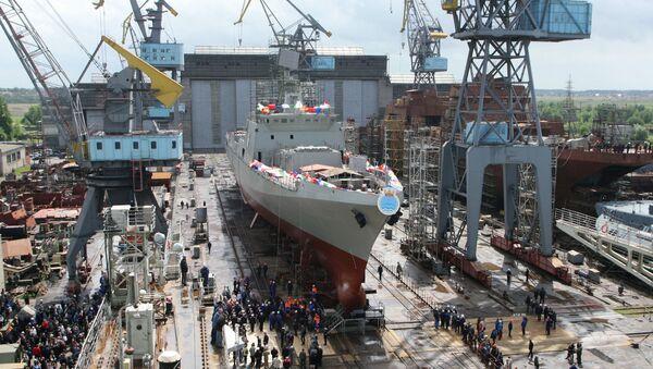 Spuštění fregaty Trikand na vodu - Sputnik Česká republika