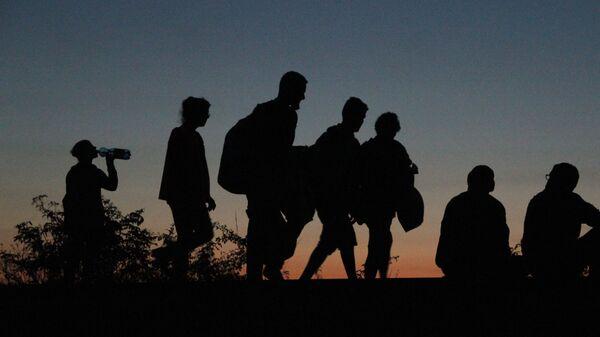 Migranti, kteří překročili srbsko-maďarskou hranici jdou pěšky do Rakouska a Německa - Sputnik Česká republika