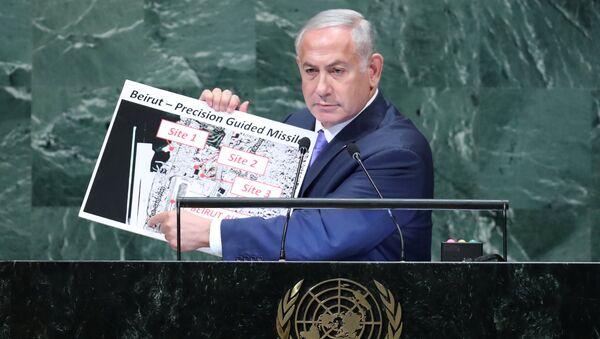 Israeli Prime Minister Benjamin Netanyahu addresses the 73rd session of the United Nations General Assembly at U.N. headquarters in New York - Sputnik Česká republika