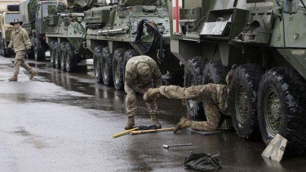 Obrněné vozidlo Stryker armády USA v Praze - Sputnik Česká republika