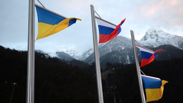 Ruské a Ukrajinské vlajky - Sputnik Česká republika