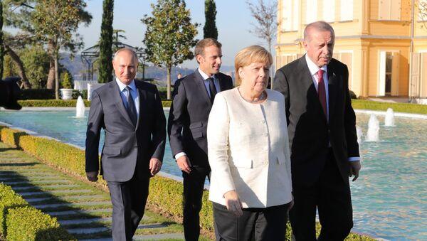 Putin, Erdogan, Merkelová a Macron na jednáních v Turecku - Sputnik Česká republika