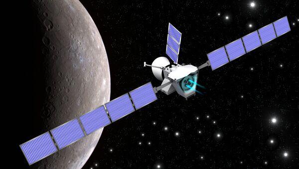 Ilustrační obraz, který zobrazuje sondu Bepi Colombo na pozadí Merkuru - Sputnik Česká republika