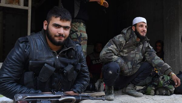 Ozbrojenci v oblasti bývalého palestinského uprchlického tábora Jarmúk - Sputnik Česká republika