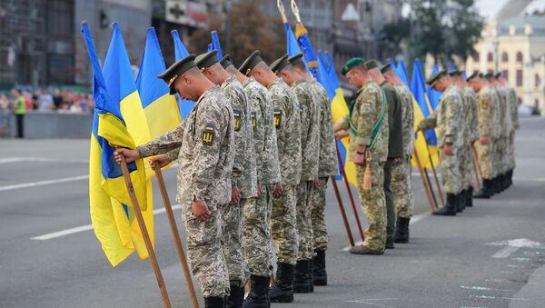 Ukrajinští vojáci během zkoušky vojenské přehlídky v Kyjevě - Sputnik Česká republika
