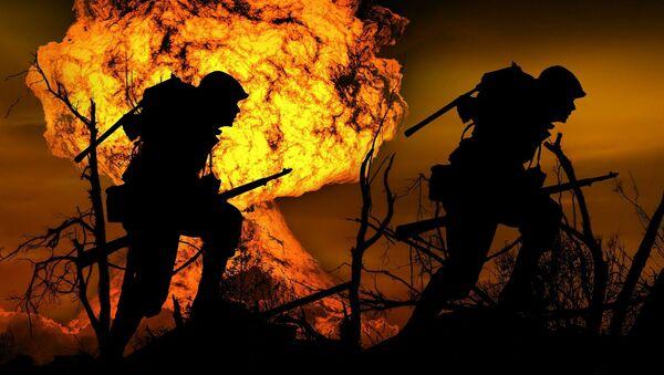 Vojáci na pozadí výbuchu - Sputnik Česká republika