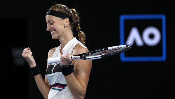 Petra Kvitová po vítězném semifinále, ve kterém porazila Američanku Daniell Collinsovou 2:0 na sety - Sputnik Česká republika