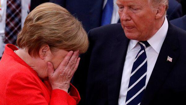 Německá kancléřka Angela Merkelová a prezident USA Donald Trump - Sputnik Česká republika