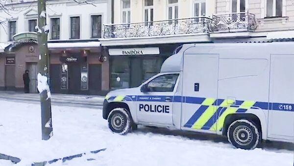 Policejní automobil na místě vyloupeného zlatnictví v Karlových Varech - Sputnik Česká republika