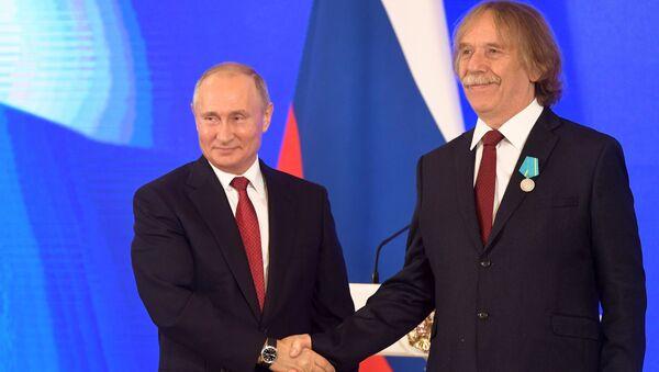 Ruský prezident Vladimir Putin a Jaromír Nohavice v Kremlu - Sputnik Česká republika