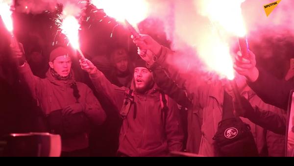 Ukrajinští nacionalisté protestovali proti krutosti policie - Sputnik Česká republika
