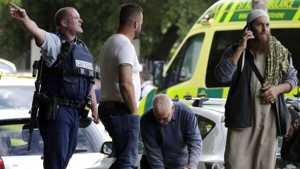 Policie na místě krvavého masakru na Novém Zélandu - Sputnik Česká republika