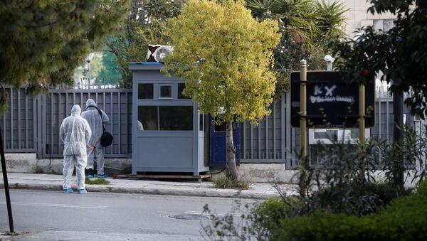 Policejní budka u ruského velvyslanctví v Aténách, kde došlo k výbuchu granátu - Sputnik Česká republika