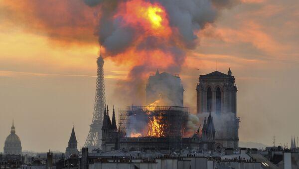Požár v pařížské katedrále Notre-Dame  - Sputnik Česká republika