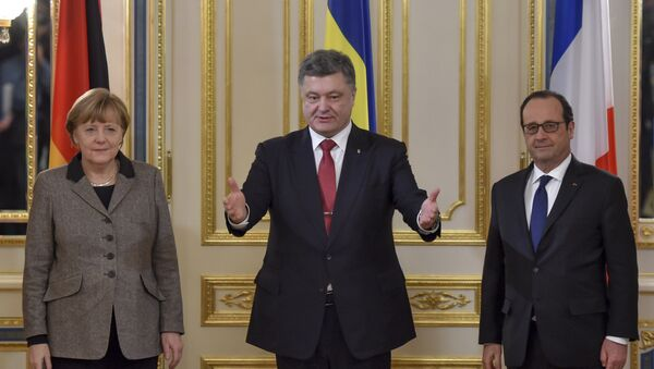 Angela Merkelová, Petro Porošenko a Francois Hollande - Sputnik Česká republika